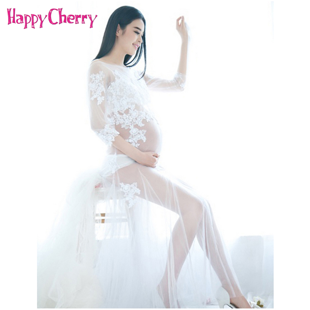 White Lace Maternity Photography Props Dresses Pregnant Women Photo Shoot Off Shoulders Long Dress Clothes photo shoot