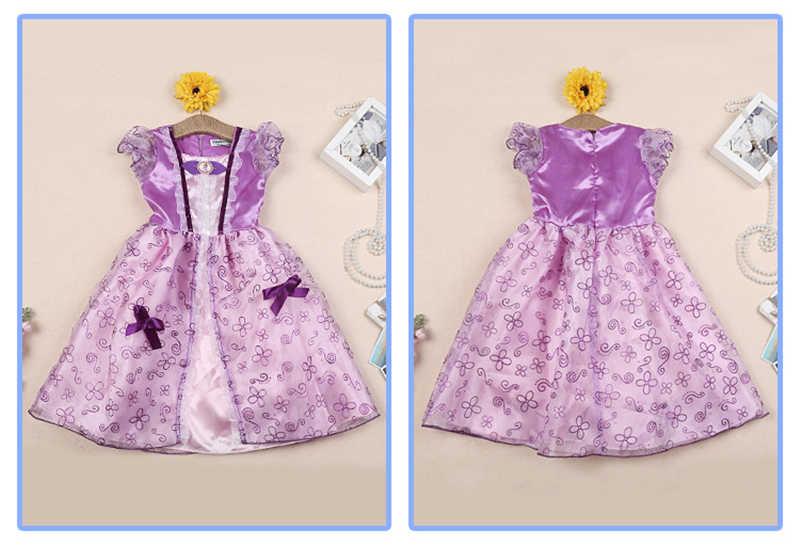 2019 Meninas Vestido de Verão Crianças Cinderela Branca de Neve Cosplay Traje Do Bebê Menina Vestido de Princesa Rapunzel Belle Aurora Vestido Vestidos