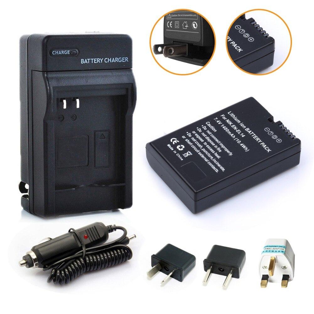 Probty EN-EL14 ENEL14 1400 mAh + cargador de batería coche para Nikon DSLR D3300 D3200 D3100 D5100 D5200 D5300 D5500 Cámara
