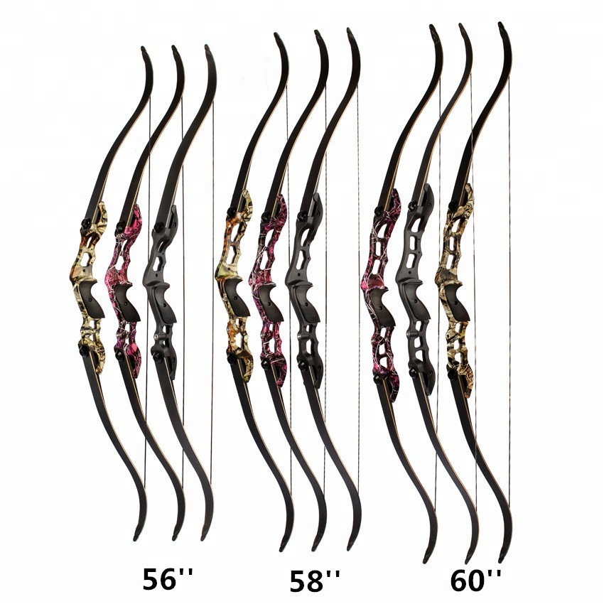 56/58/60 pouces 3 couleurs 30-50lbs arc classique arc de chasse avec 17/19/21 pouces Riser pour tir à l'arc chasse - 2