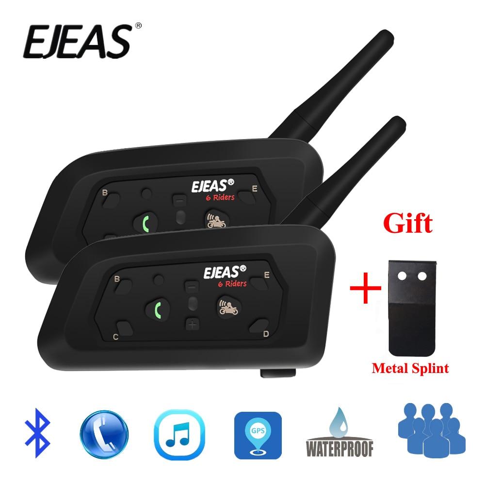 2 pcs EJEAS V6 PRO Bluetooth Moto Interphone Casque Casque 6 Coureurs 1200 m Communicateur Interphone + Métal Attelle
