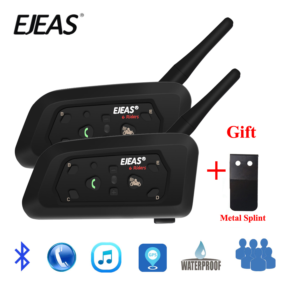 2 pcs V6 EJEAS PRO Bluetooth Motocicleta Capacete Interfone Headset 6 Riders 1200 m Comunicador Interfone + Tala De Metal