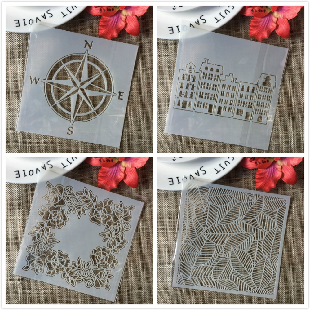 4Pcs 13cm Hollow Leaves Building Compass DIY Layering Stencils Painting Scrapbook Coloring Embossing Album Decorative Template