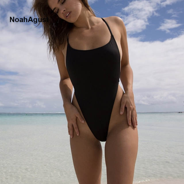 babb009138f US $11.89 15% OFF|Backless Bather Female Solid High Leg One Piece Swimsuit  Thong Monokini White Black Red Sexy Women Swimwear G String Swim Suit-in ...