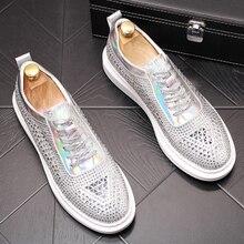 สไตล์อังกฤษ mens casual stage จัดเลี้ยงชุดที่มีชื่อเสียง rhinestone รองเท้าหนังแท้รองเท้าผ้าใบ zapatos hombre