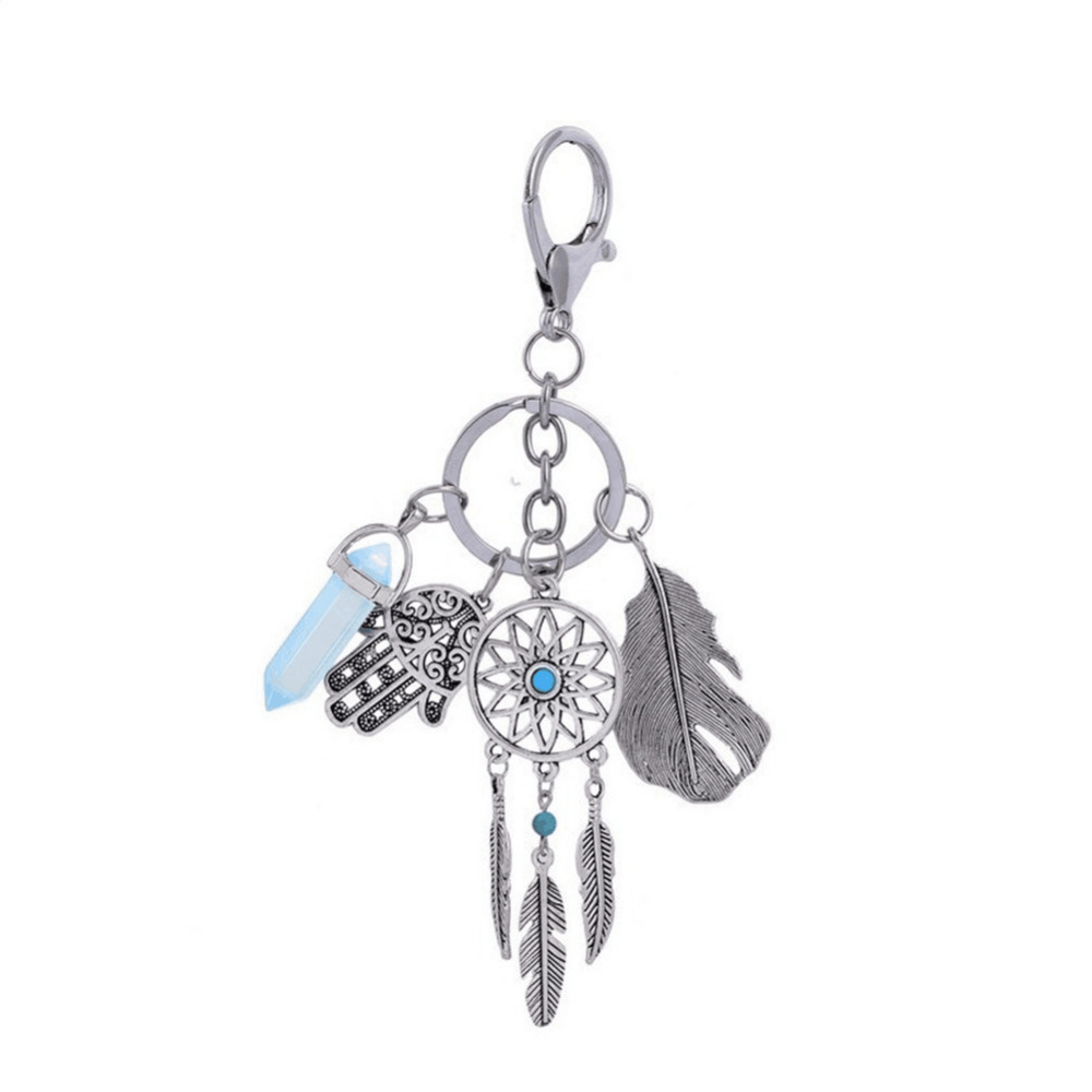 LUNASBORE Natural stone opal dreamcatcher car keychain boho key ring of feather jewelry woman for opel force2 bmw mini polo image