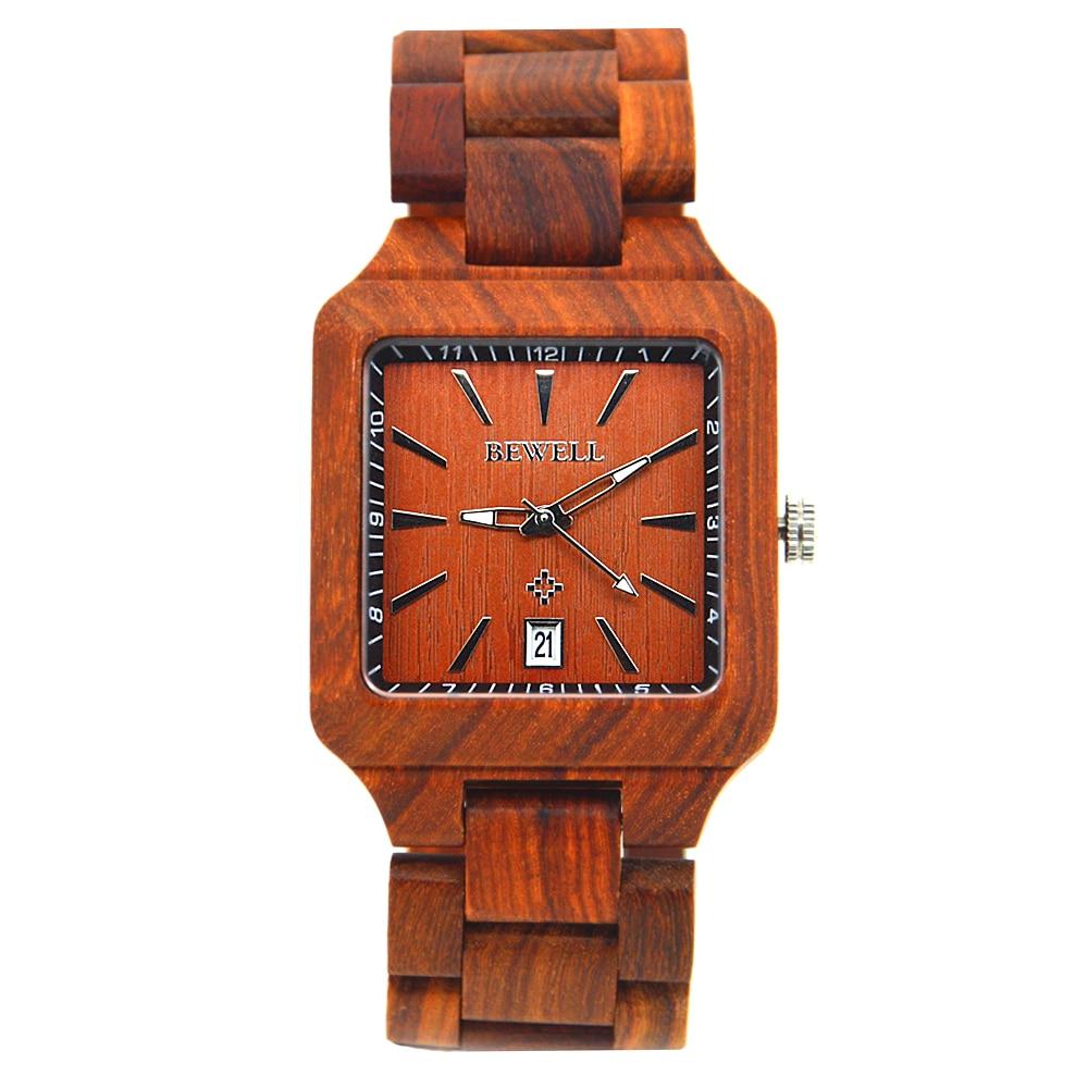 BEWELL Wood Watch Men Red Sandalwood orologio uomo Calendar Square Man Wooden Watches Quartz Wrist watch