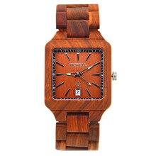 BEWELL Bois Montre Hommes Rouge Bois De Santal orologio uomo Calendrier Homme Carré En Bois Montres Bracelet À Quartz-montre relogio masculino 110A