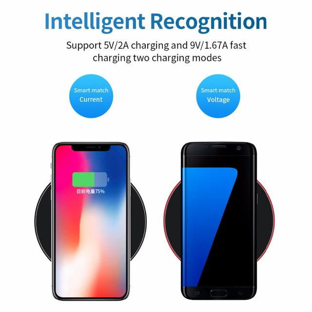 WLMLBU 10W Qi Wireless Charger for iPhone X/8 Visible Fast Wireless Charging pad for Samsung S9/S9+ S8 Note 9 9+ 8 Xiaomi Huawei 3