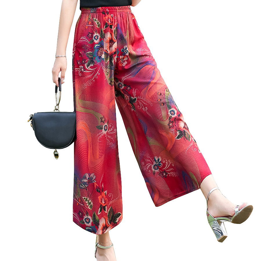 High quality women fashion 2018 Elastic Summer   pants   women print Floral   Wide     leg     pants   Vintage Loose   Pants   female plus size