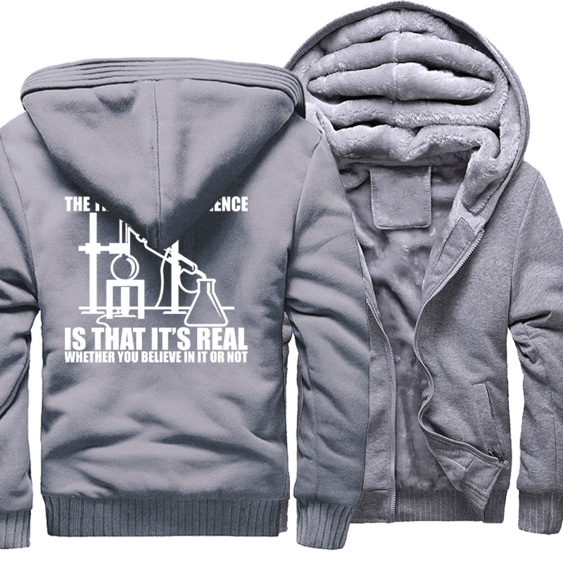 Sweatshirt For Men 2017 Winter Fleece Brand Clothing Hoody Print Science Real Believe or Not Casual Hoodie Men's Sportswear Kpop