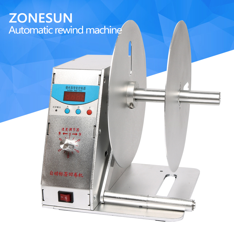 ZONESUN NEW Digital Automatic Label Rewinder Clothing tags barcode Stickers rewinding machine volume label FOR Supermarket new stickers rewind automatic rewinding machine for all bar code printers