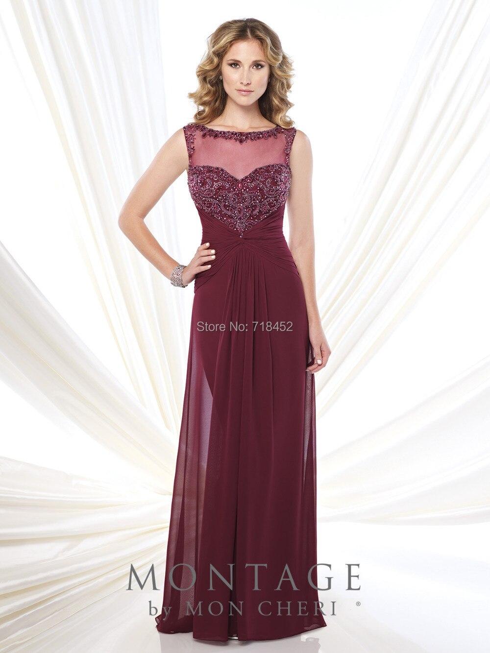 Fashion Design Burgundy Chiffon Mother Of Bride Dress For Beach Wedding Sheer Neck Beading Formal Party