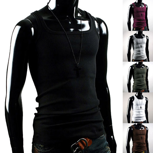 Cool Men's Summer Solid Cotton Shawl Collar Slim Muscle Vest Fit Sexy Stylish Sleeveless Broadcloth   Tank     Tops   Shirt 9D2W