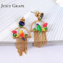Enamel Gold Asymmetry Parrot Birdie 925 Silver Needle Tassels Earring Jewelry Women Gift Brincos Orecchini Donna Arete