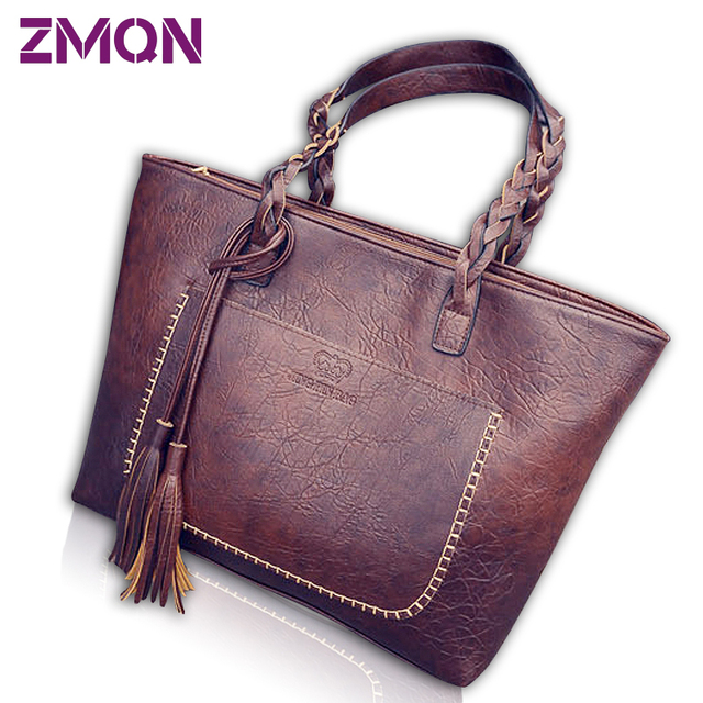 Women Handbags Vintage Bags Retro PU Leather Tote Bag For Girl Large Handbag Women Tassel Casual Hand Bag Shoulder Sac Femme 704