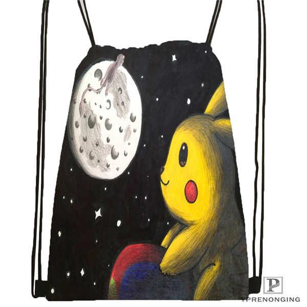 Custom Pikachu and Friends under the sea 1 Drawstring Backpack Bag Cute Daypack Kids Satchel Black