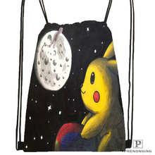 Custom Pikachu-and-Friends-under-the-sea-1 Drawstring Backpack Bag Cute Daypack Kids Satchel (Black Back) 31x40cm#20180611-02-97