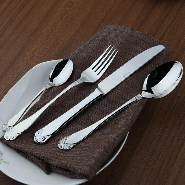 Stainless Cutlery Flatware Sets 24 Restaurant Metal Kitchen Wedding Dinner Beautiful Dinnerware Tableware Dinner Set