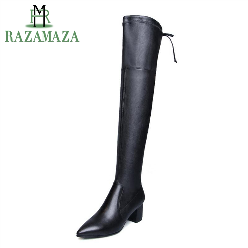 RAZAMAZA Size 34-42 Real Leather High Heels Woman Boots Pointed Toe Winter Shoes Woman Zipper Over Knee Botas Woman FootwearRAZAMAZA Size 34-42 Real Leather High Heels Woman Boots Pointed Toe Winter Shoes Woman Zipper Over Knee Botas Woman Footwear