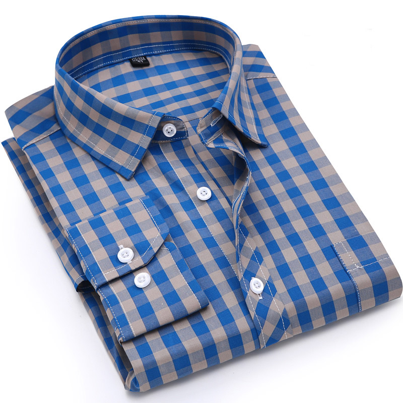 Men Plaid Shirt 100% Cotton Spring Autumn Casual Long Sleeve Shirt Soft Comfort Slim Fit Styles Brand Man Clothes