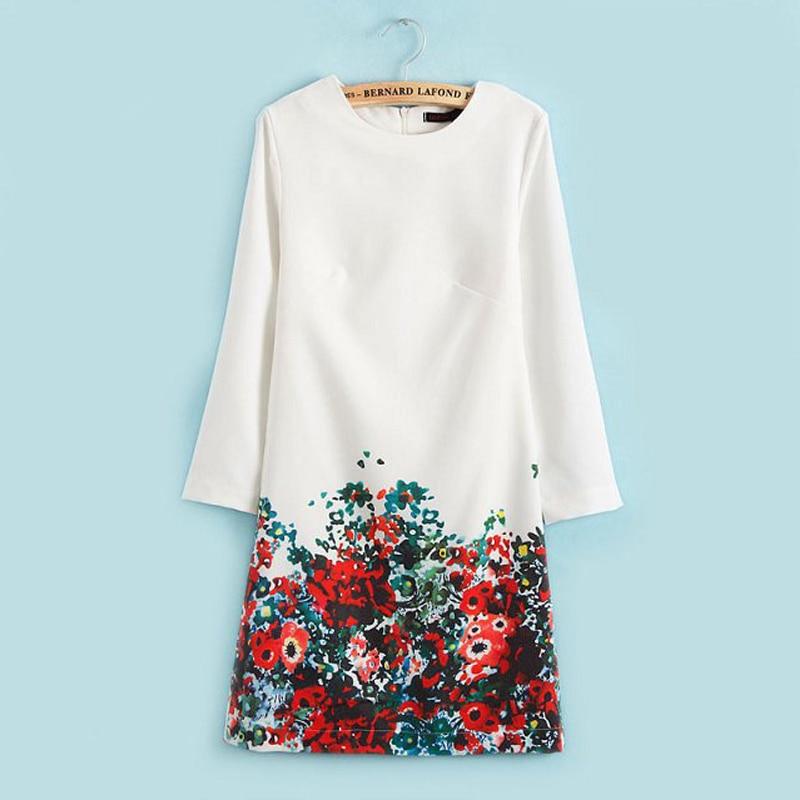 2018 Spring Autumn Fashion Women Work Wear Dress New Cute Flower Print Long Sleeve A-line Dress Women Floral Printed Dresses