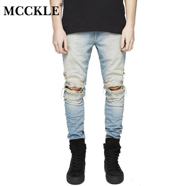 005d90e9c24 MCCKLE Fashion Brand Slim Fit Ripped Jeans Men Hi-Street Knee Holes  Distressed Denim Biker Pants Male Washed Destroyed Trousers