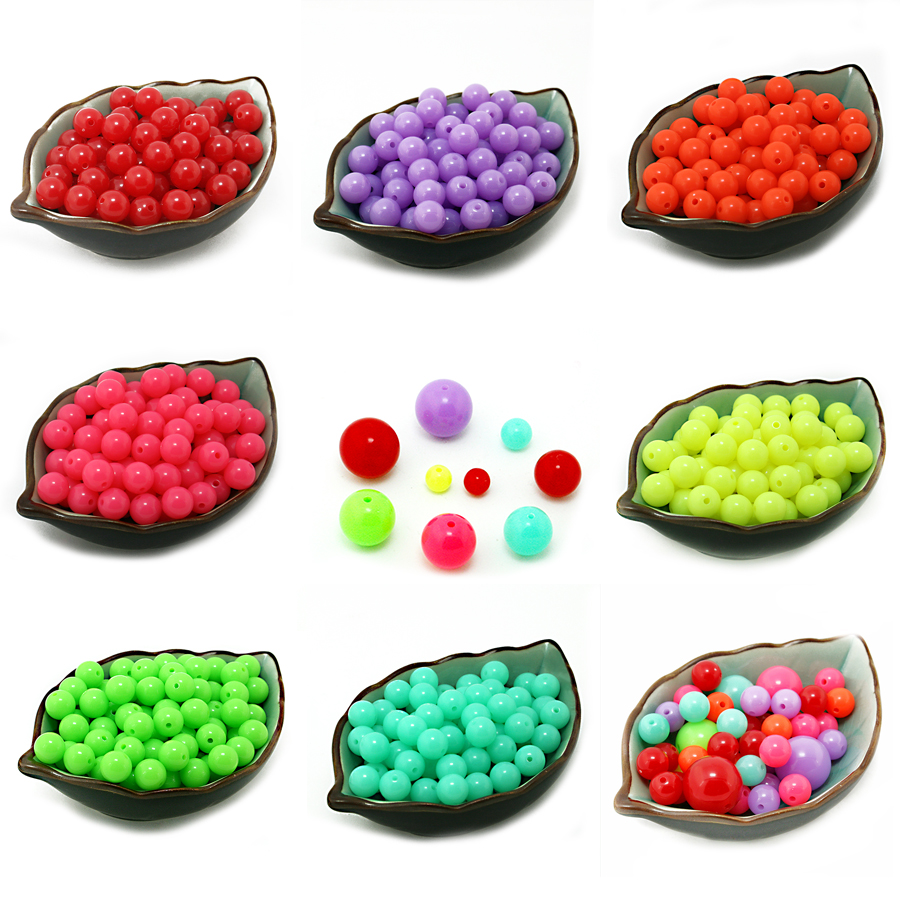 DIY Mixed Fluorescent Neon Beads Acrylic Round Beads Rubber Tone 6mm-18mm