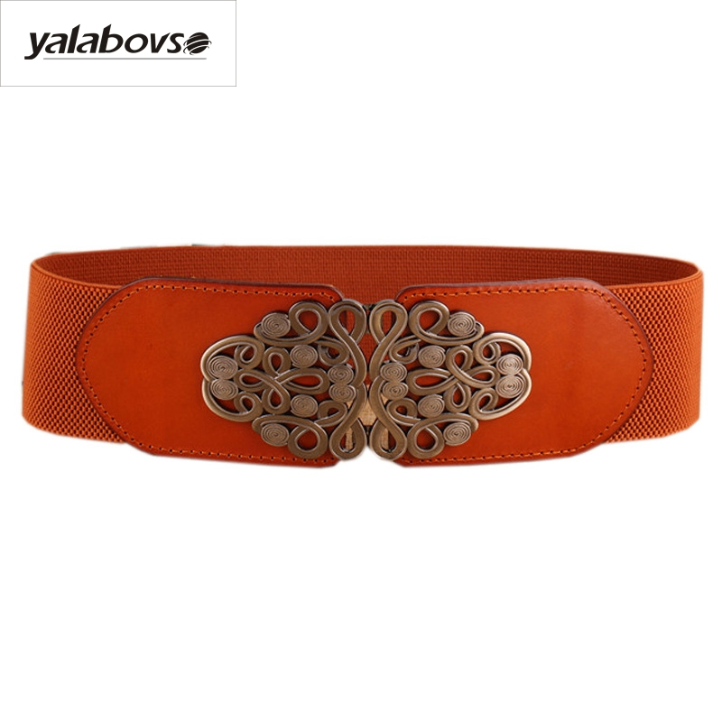 Yalabovso 2017 New Autumn Novelty Elastic Waist Wide Leather Belt  Patchwork Cowskin Sealing Belt For Woman Slim Waist Z20