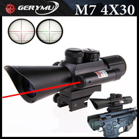 GERYMU 4X30 Tactical Optics Green Red Scope With Red Laser Sight 4 Magnifying Rifle Scope For