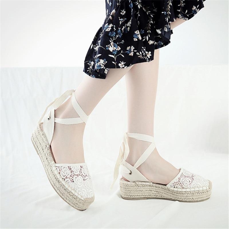 Summer Black Striped Wedge Espadrilles Women Sandals Closed Toe Lace Gladiator Sandal Women Casual Lace Up Women Platform Sandal (1)