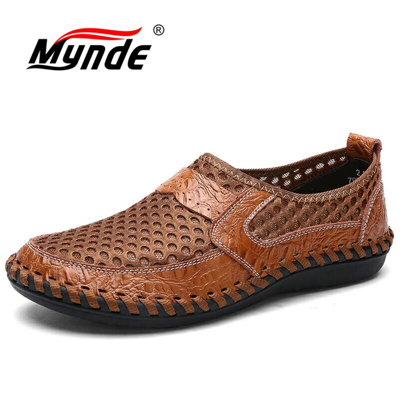 MYNDE Brand New Big Size 38-48 Summer Breathable Mesh Men Casual Shoes For Comfortable Handmade Men Flats Slip-On Men Shoes zjnnk summer men mesh shoes big size male casual shoes breathable slip on chaussure homme light soft men summer shoes big size
