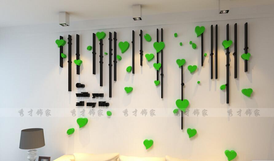 Acrylic Crystal Wall Decor: DIY New 3D Love Heart Acrylic Crystal Wall Stickers