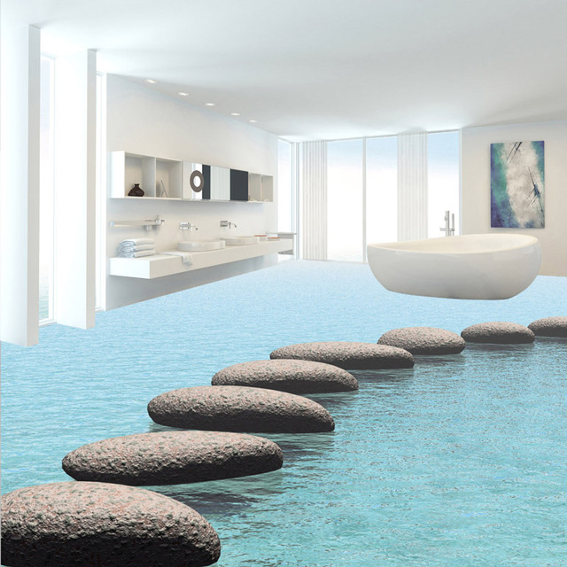 3d Floor Painting Stickers Stone Wall Papers Living Room Bedroom ...