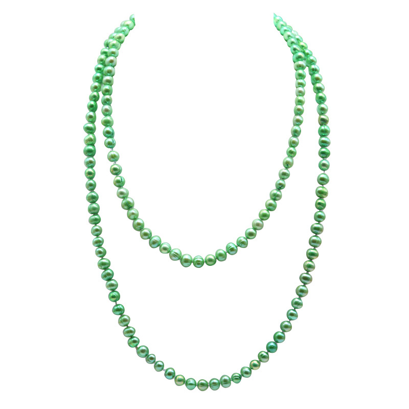 JYX Long Pearl Necklace Green Freshwater Cultured Pearl Necklace Party Jewelry Gift 48 Inches