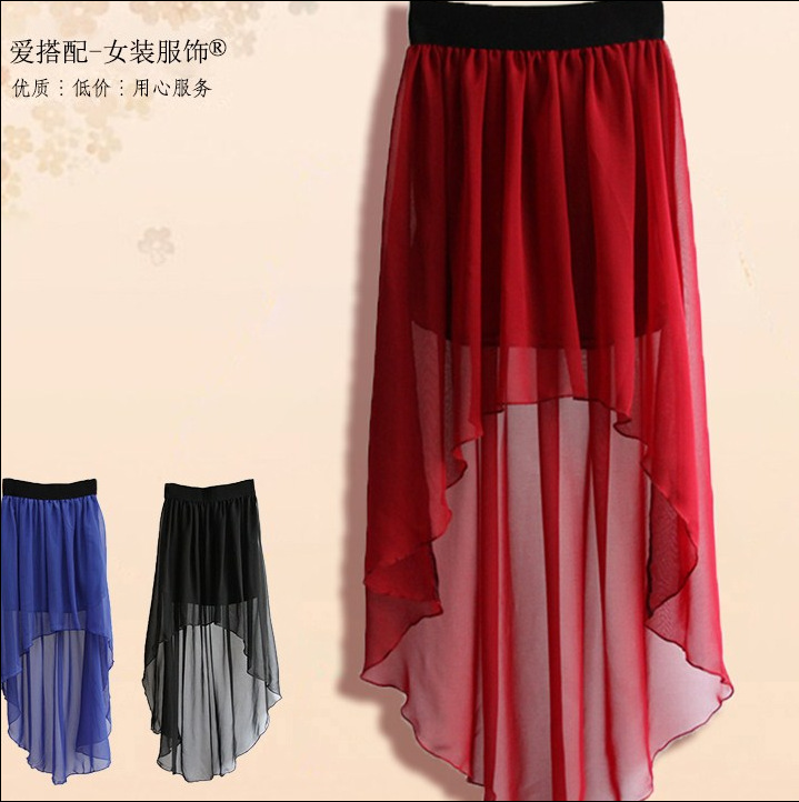 57b5ad4103 Women Summer Solid Knee Length Short Front Long Back Skirts-in Skirts from  Women's Clothing on Aliexpress.com | Alibaba Group