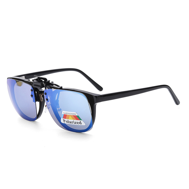 New Lens Shape Design Polarized Clip on Sunglasses for Most Prescription Optical Frame Large Small Size Blue Orange Sun Glasses