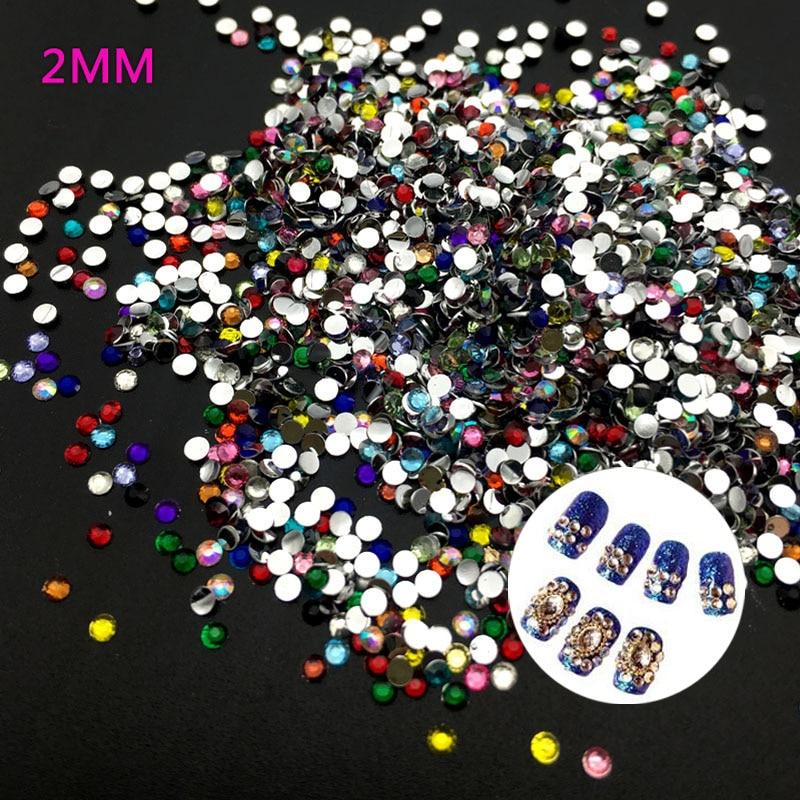 400 Pcs/bag 2MM Mix Color 3D Nail Art Tips Flat  Drill  Rhinestones  DIY Jewelry 3D Nail Decoration