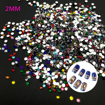 400 pcs/bag 2MM Mix Color 3D Nail Art Tips Flat Drill Rhinestones DIY Jewelry 3D Nail Decoration image