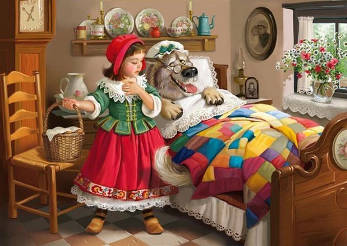 mosaic Diamond painting lovely DIY 5D Little Red Riding Hood Grandma Wolf Cross Stitch full Diamond Bed Kids home decor