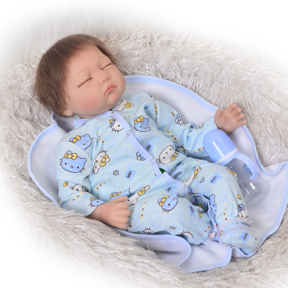 Realistic Reborn Baby Doll 55 cm Soft Silicone Baby Boy Fashion Cloth Body Newborn Dolls Sleeping DIY Toy Gifts For Children