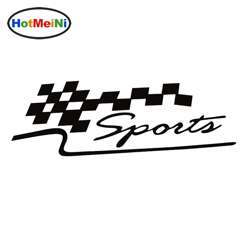 HotMeiNi 29x10cm Car And Motorcycle Decals Personalized Car Stickers Reflective Garland Decorated SPORT Race Flag BlackSliver