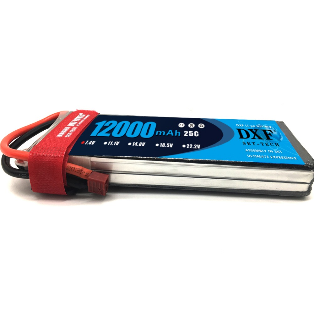 DXF Rc Lipo Battery 7.4V 12000MAH 25C 2S For Rc Multicopter Drone UAV FPV Quadcopter Airplane Boat image