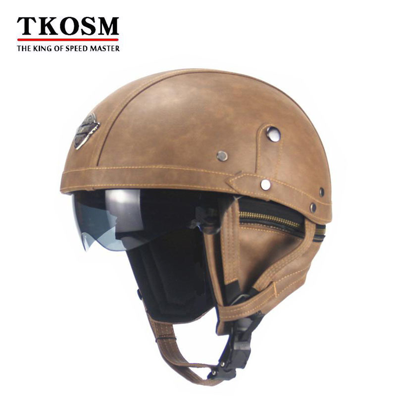 TKOSM Adult Leather Open Face Half Helmet For Motorcycle Retro Half Cruise Helmet Prince Motorcycle Helmet Vintage Motorcycle Mo