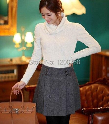 ba3a63fe3f Autumn Women Woolen Skirts Plus Size Women Winter Pleated Skirts Mid Waist  Slim Casual Wool Skirt For lady Plus Size 6XL, 7XL