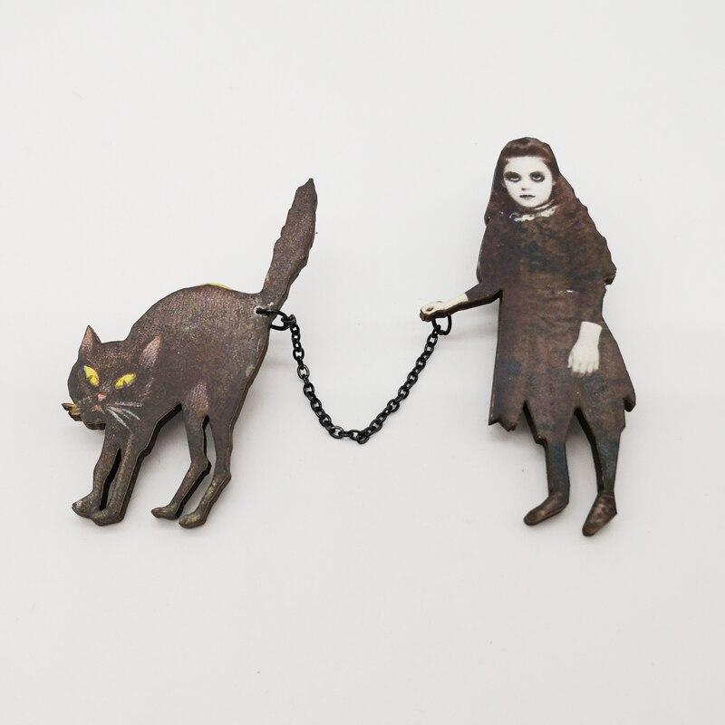 Halloween Brooch Creepy Girl with Black Cat Pin Badge Wooden Retro Brooches Jewelry Retro halloween rhinestone cat black pettitop girl green zebra pettiskirt outfit 1 8y mamg1226