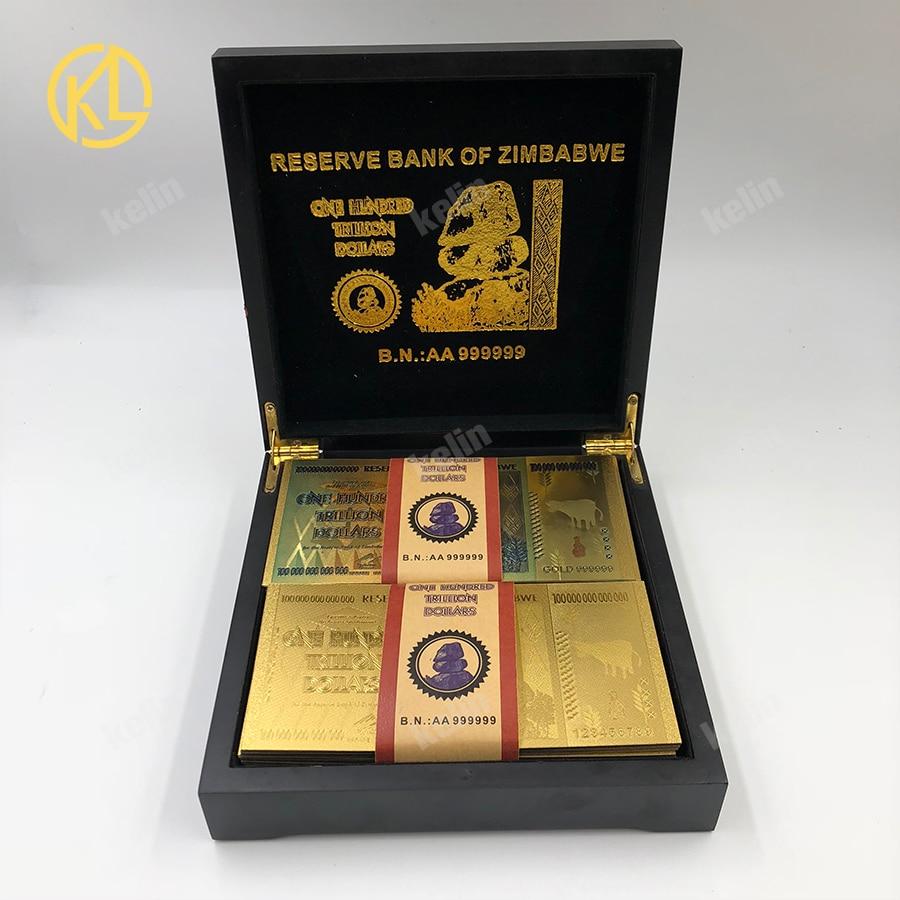 Ev ve Bahçe'ten Altın Banknotlar'de 100 adet/grup karışık 999 Altın Folyo 100 Trilyon Dolar Zimbabve Banknot güzel siyah için ahşap kutu'da  Grup 1