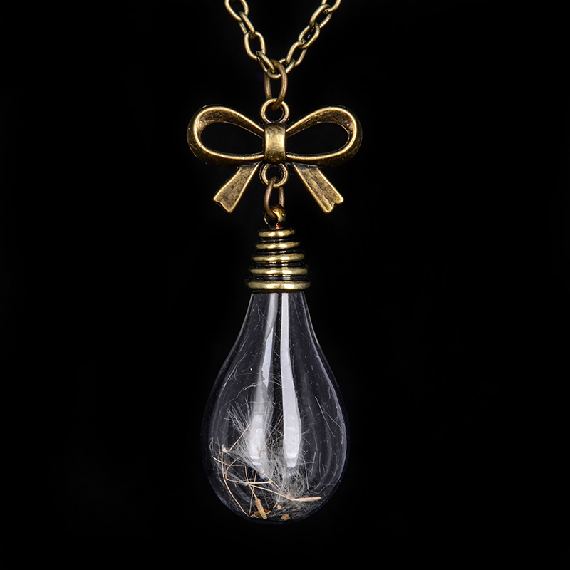 Bow Vial Necklaces Bronze in chain