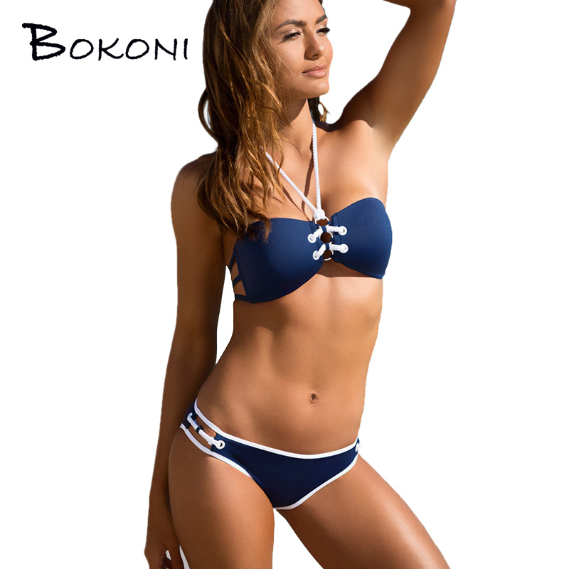 Sexy Bikini Set Halter Bathing Suit Bikini 2017 Triangle Swimming Suit Swimwear Women Bandage Push Up Biquini Brazilian Swimsuit
