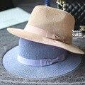 Летняя Мода Широкими Полями Лук Трикотажные Hat Fedora Для Женщин Chapeu женщина для Sun Beach Шапки Бесплатная Доставка WMDS-010